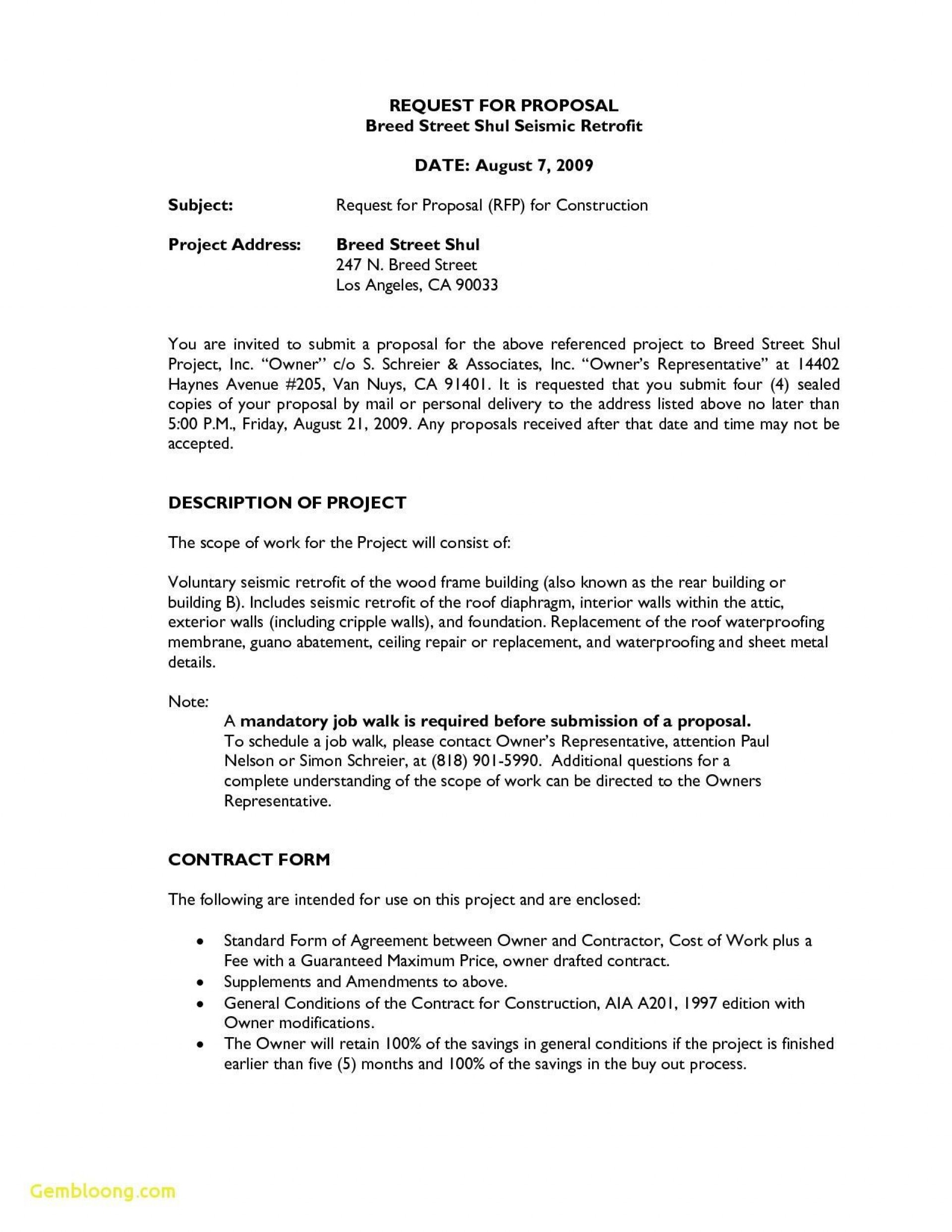 000 Dreaded Request For Proposal Template Construction Example  Rfp Residential1920