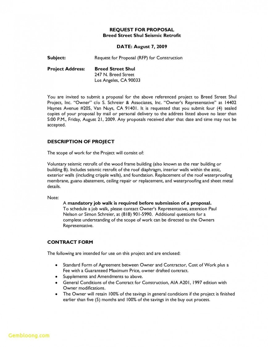 000 Dreaded Request For Proposal Template Construction Example  Commercial Residential Rfp