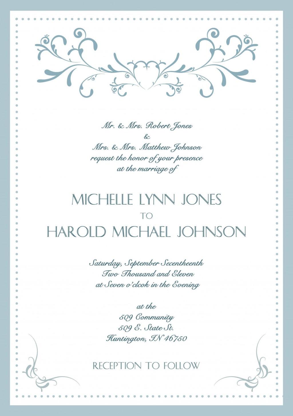000 Dreaded Sample Wedding Invitation Card Template Photo  Templates Free Design Response WordingLarge