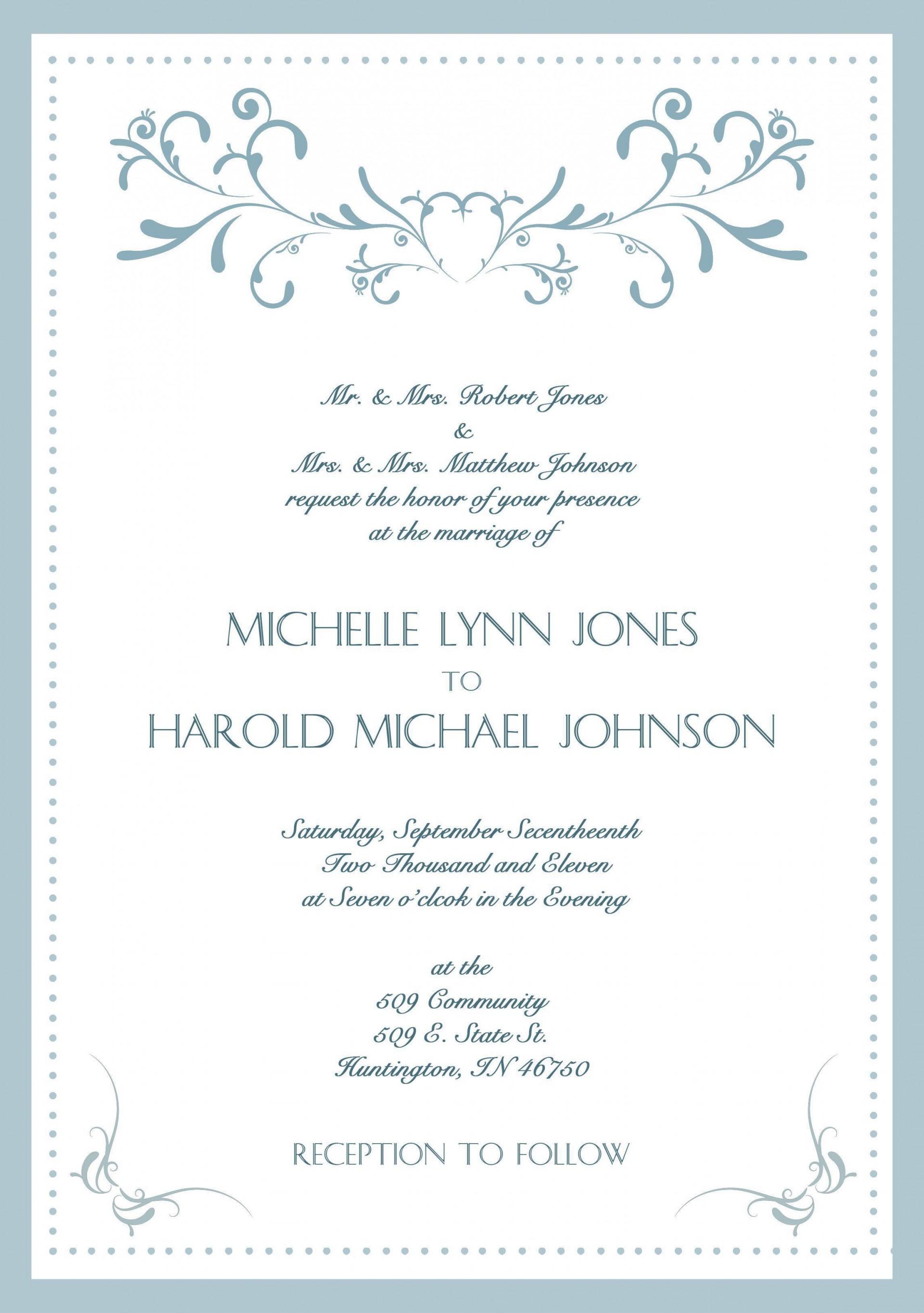 000 Dreaded Sample Wedding Invitation Card Template Photo  Templates Free Design Response Wording1920