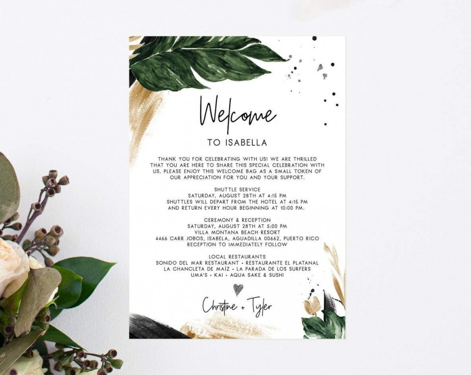 000 Dreaded Wedding Hotel Welcome Letter Template Sample 960