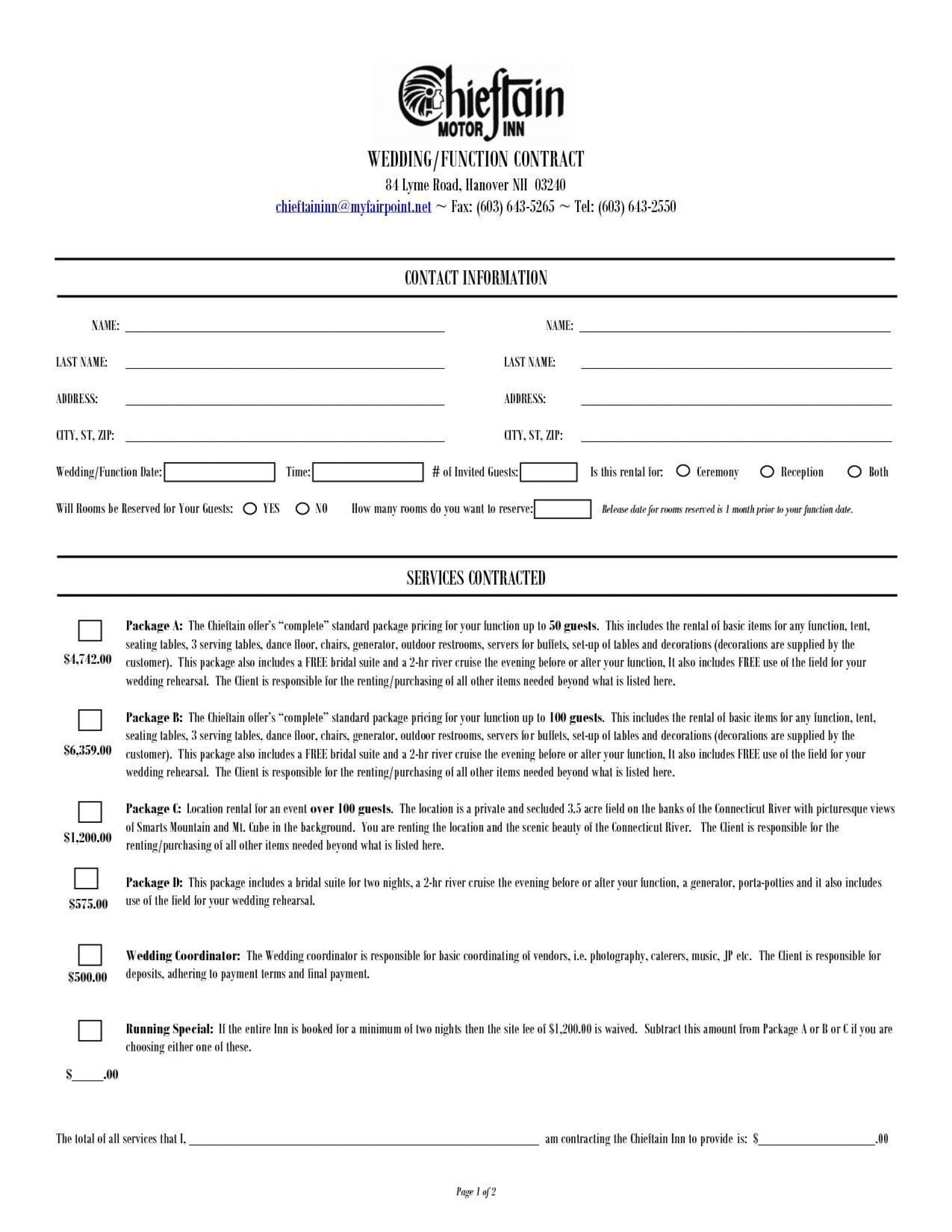 000 Dreaded Wedding Planner Contract Template Idea  Word Planning Coordinator Free1920