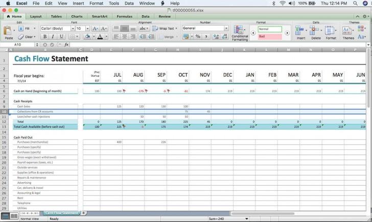 000 Excellent Cash Flow Template Excel Free Idea  Statement Download Format In728