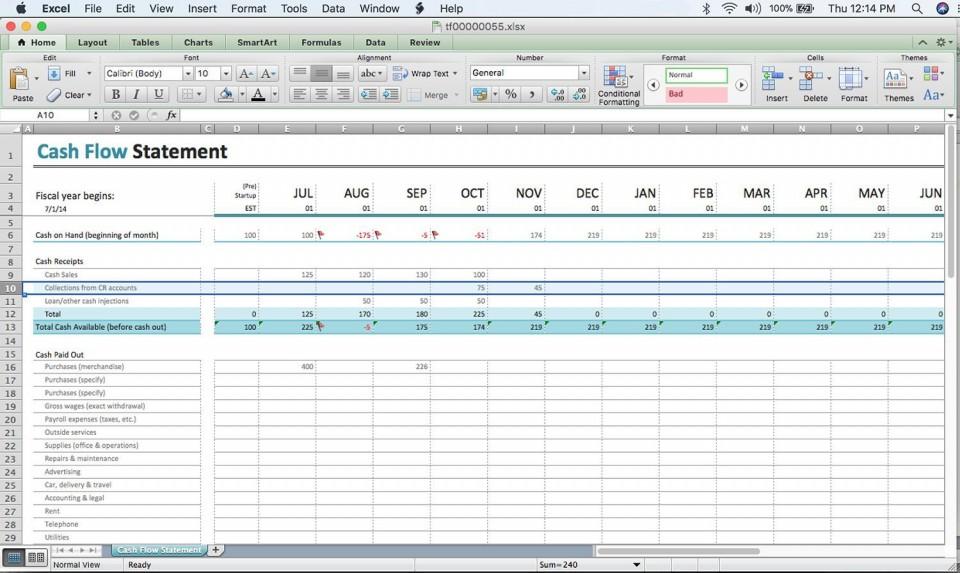 000 Excellent Cash Flow Template Excel Free Idea  Statement Download Format In960