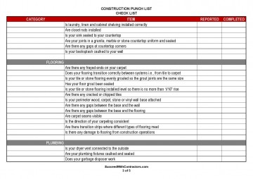 000 Excellent Construction Punch List Template Word Example 360
