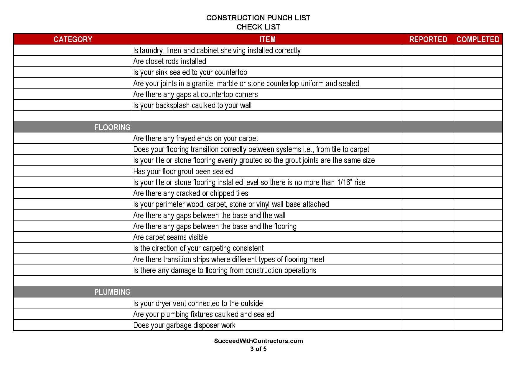000 Excellent Construction Punch List Template Word Example Full