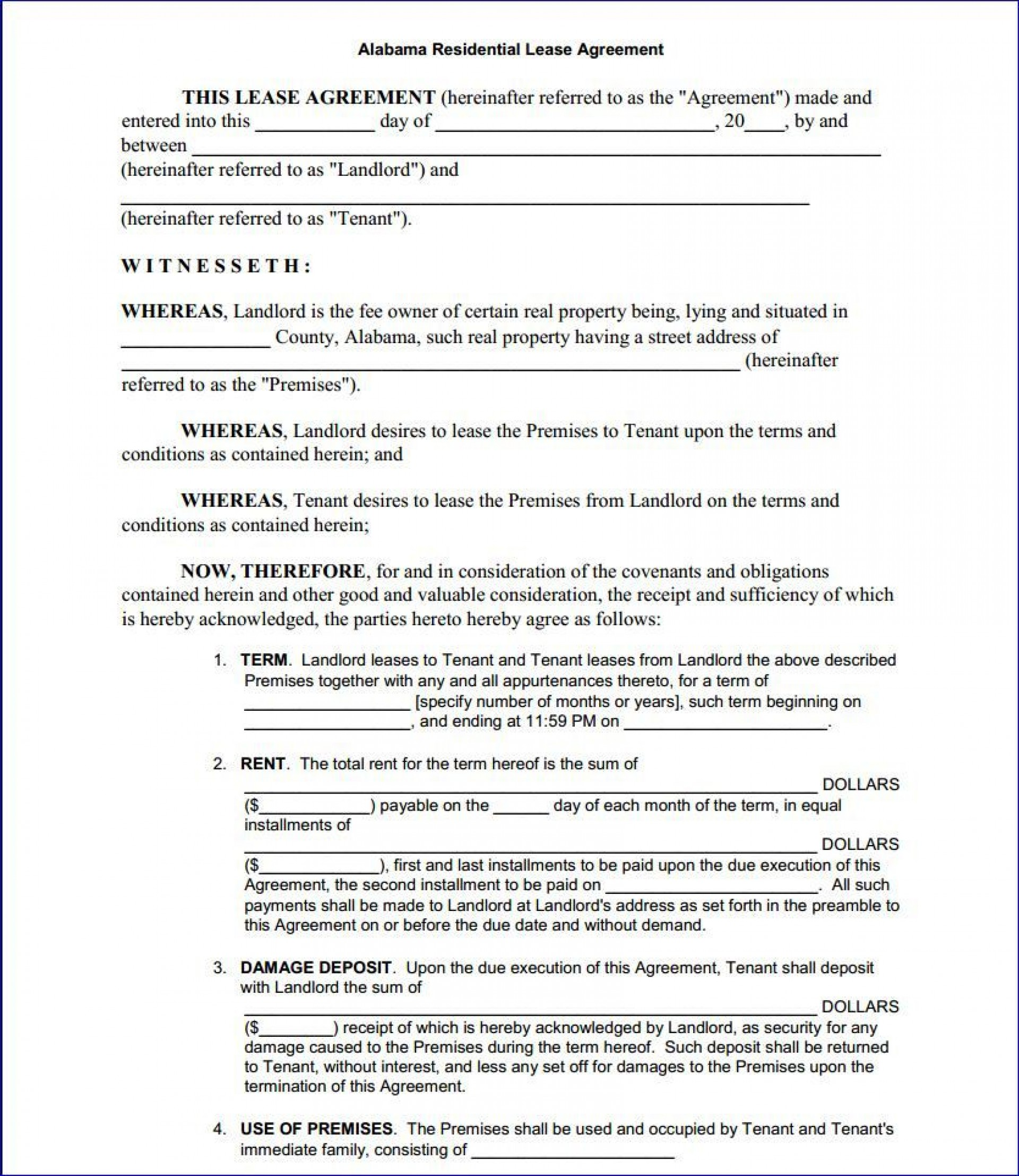 000 Excellent Free Template For Rental Lease Agreement Highest Quality  Printable Tenant Form South Africa1920