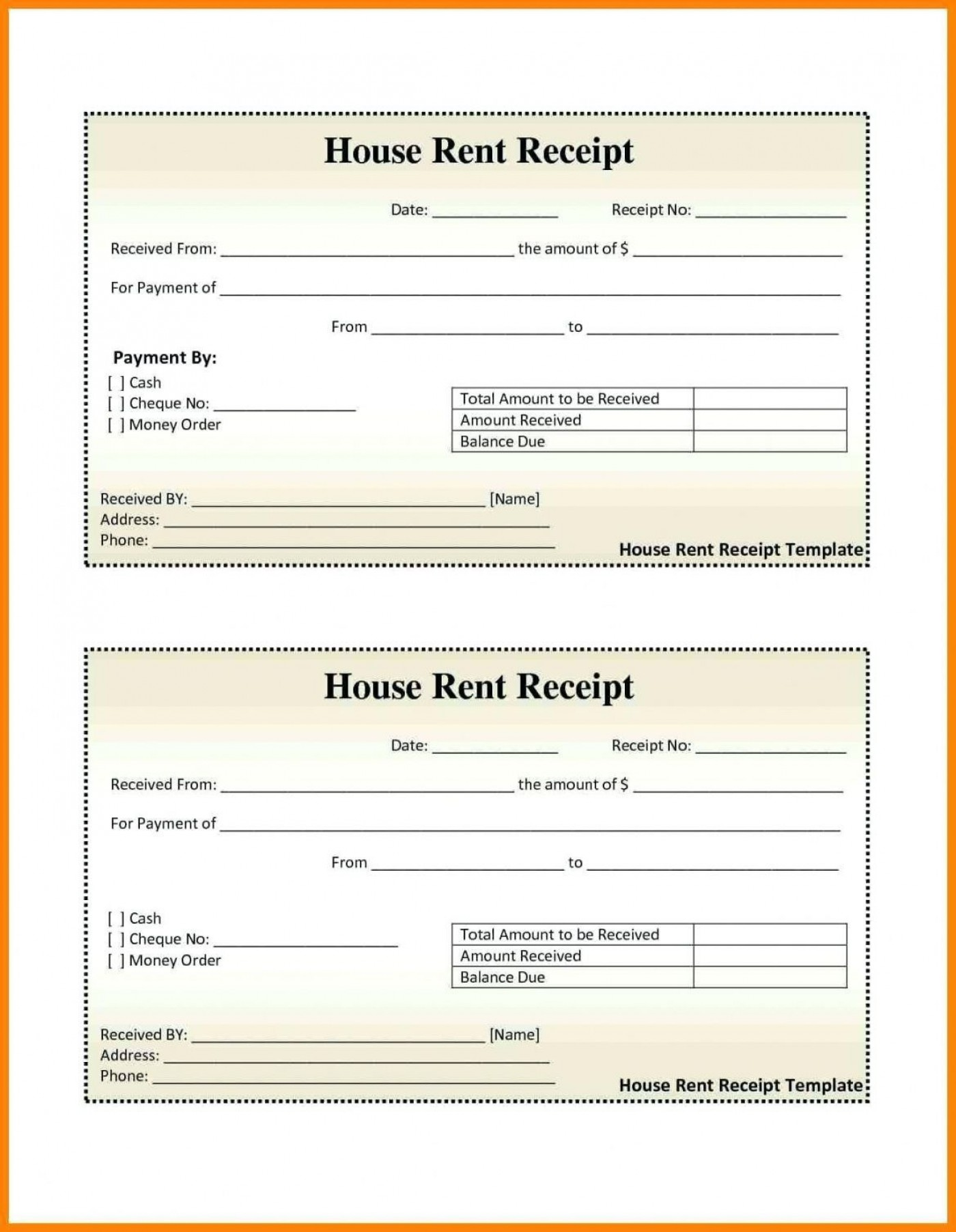000 Excellent House Rent Receipt Sample Doc Photo  Format Download Bill Template India1400