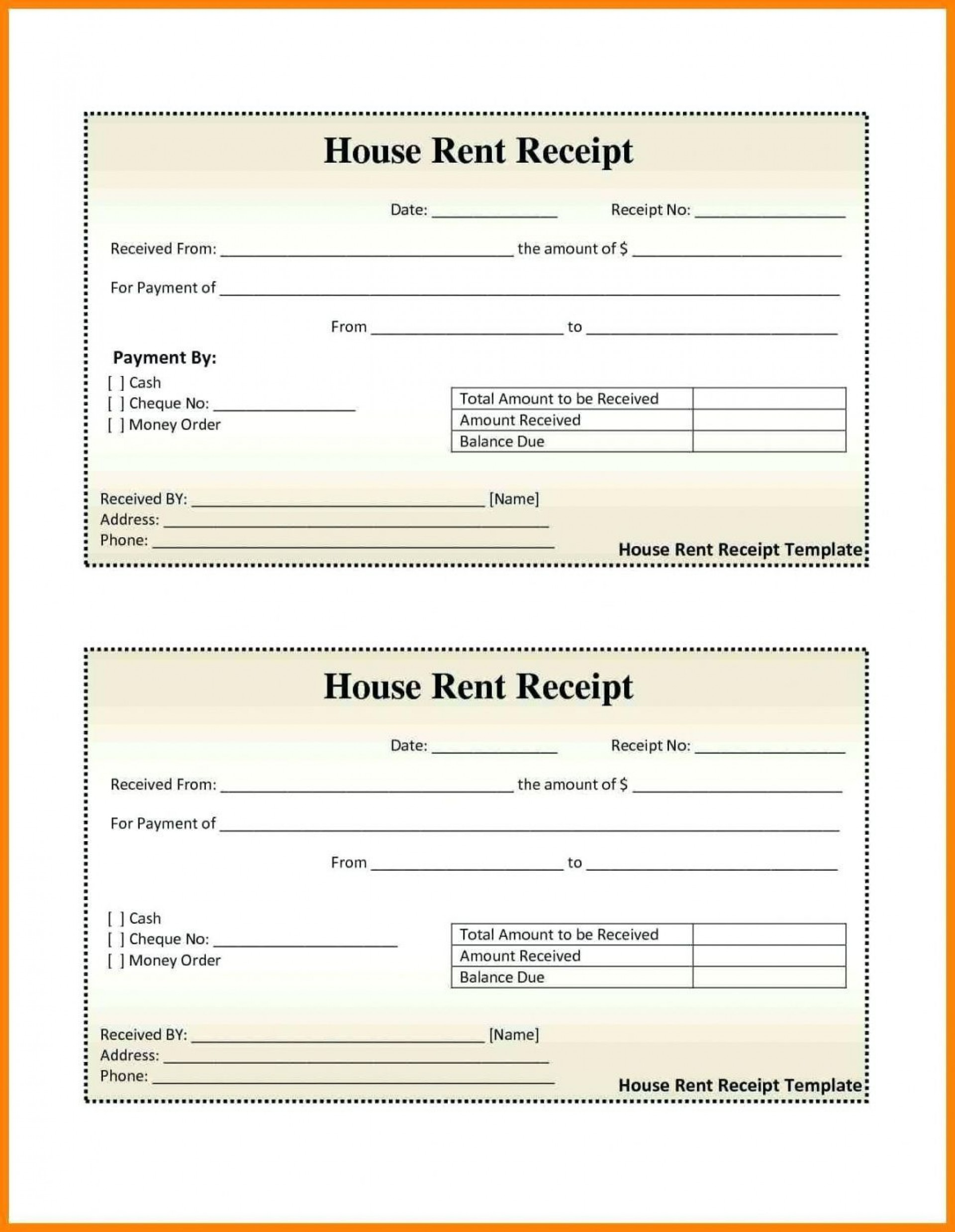 000 Excellent House Rent Receipt Sample Doc Photo  Format Download Bill Template India1920