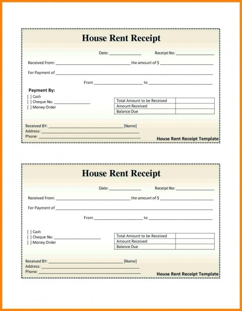 000 Excellent House Rent Receipt Sample Doc Photo  Format Download Bill Template India480