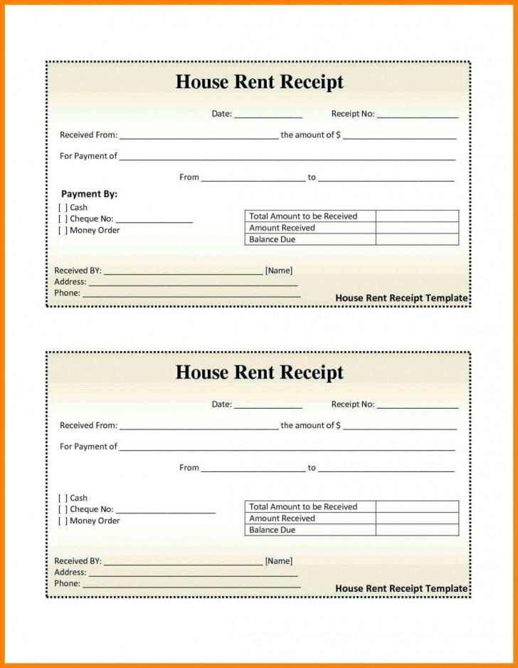 000 Excellent House Rent Receipt Sample Doc Photo  Format Download Bill Template India728