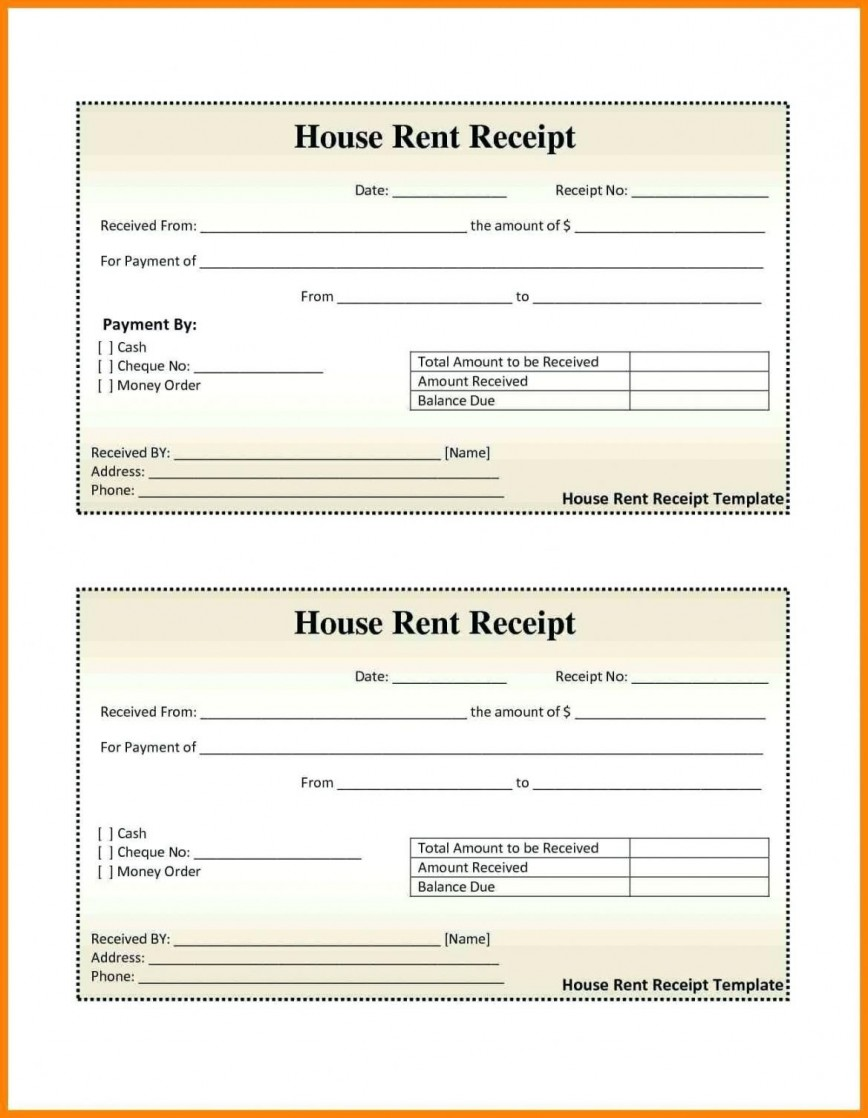 000 Excellent House Rent Receipt Sample Doc Photo  Format Download Bill Template India868