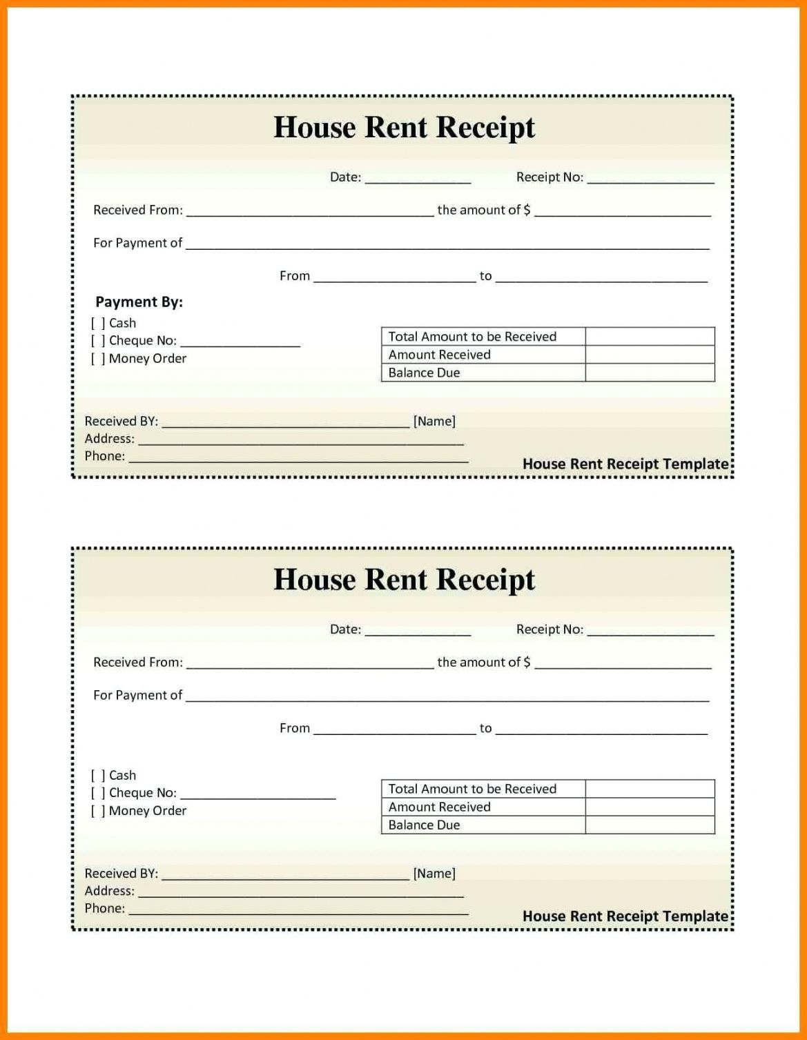 000 Excellent House Rent Receipt Sample Doc Photo  Format Download Bill Template India