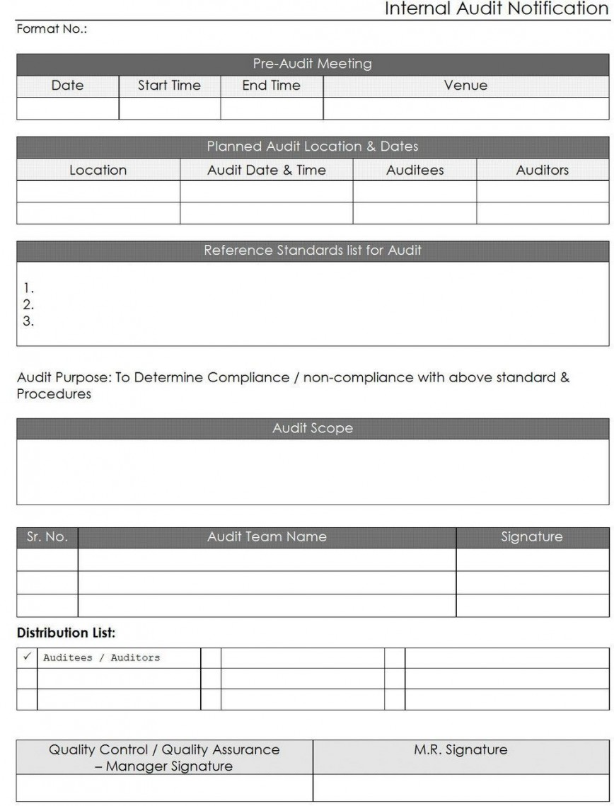 000 Excellent Internal Audit Report Template Inspiration  Free Download Powerpoint Iia