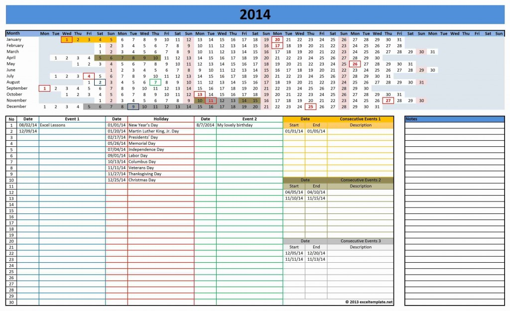 000 Excellent Microsoft Excel Calendar Template Idea  Office 2013 M Yearly 2019Large