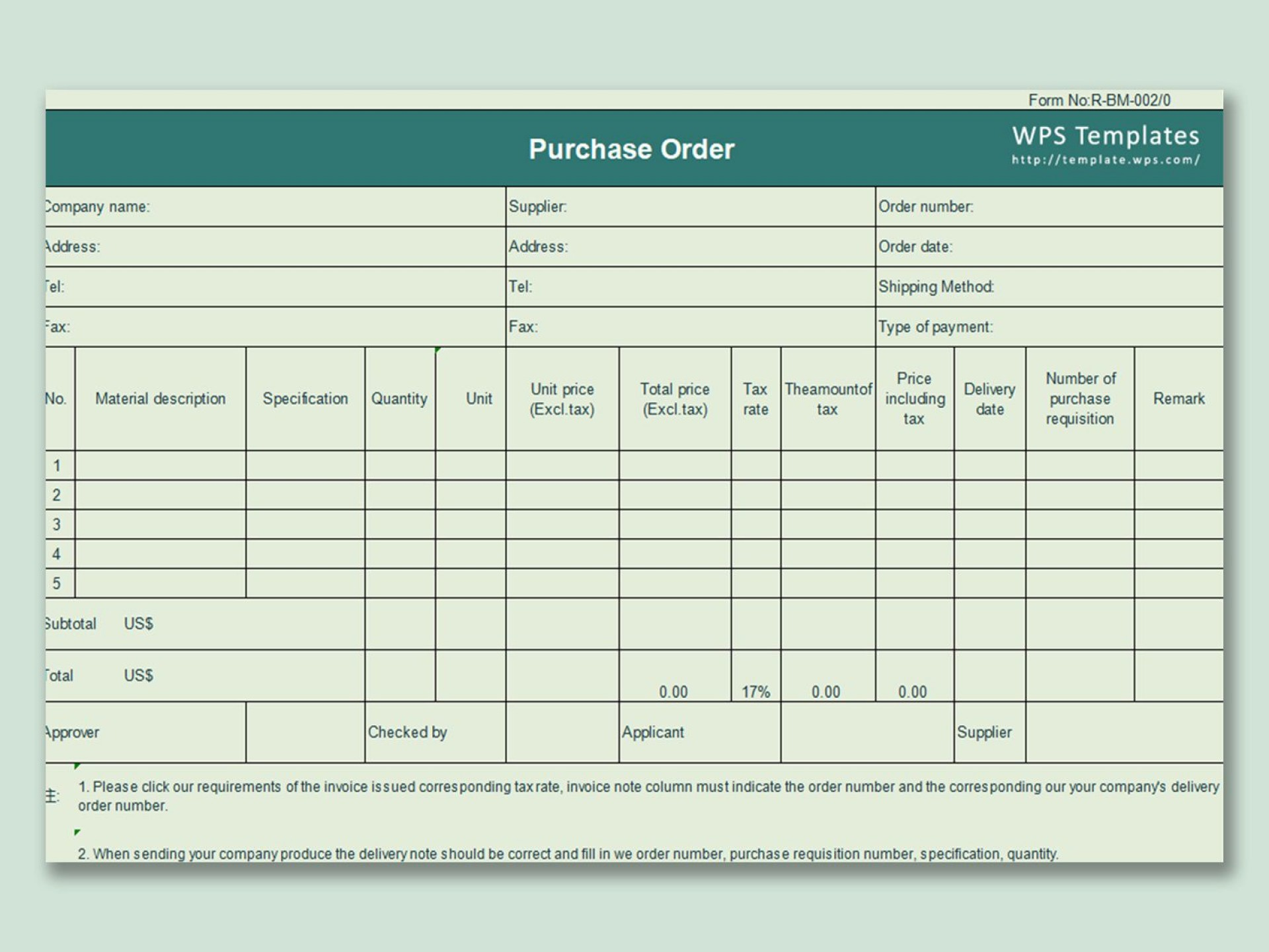 000 Excellent Purchase Order Template Free Design  Log M Acces Blanket1920