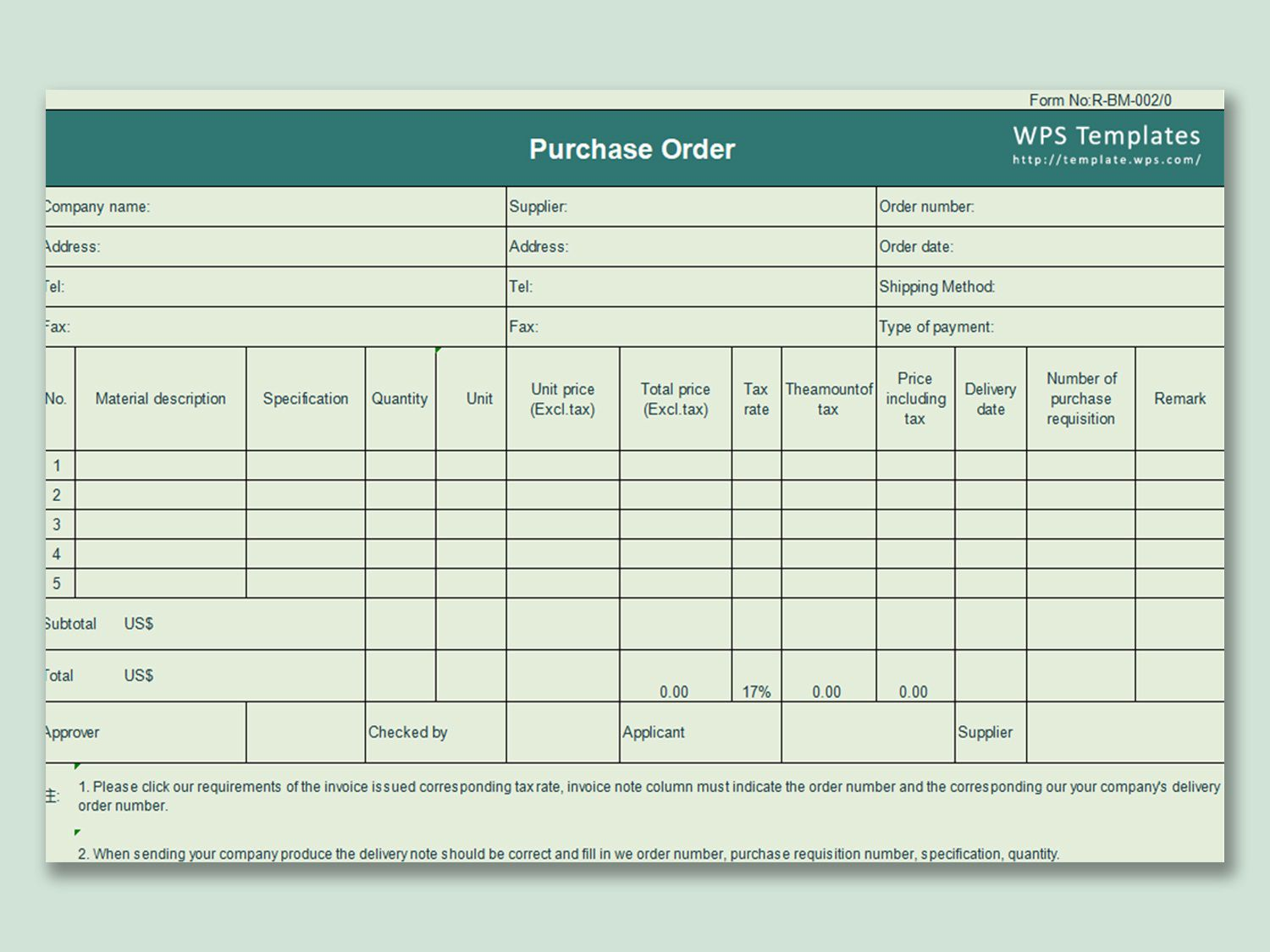 000 Excellent Purchase Order Template Free Design  Log M Acces BlanketFull