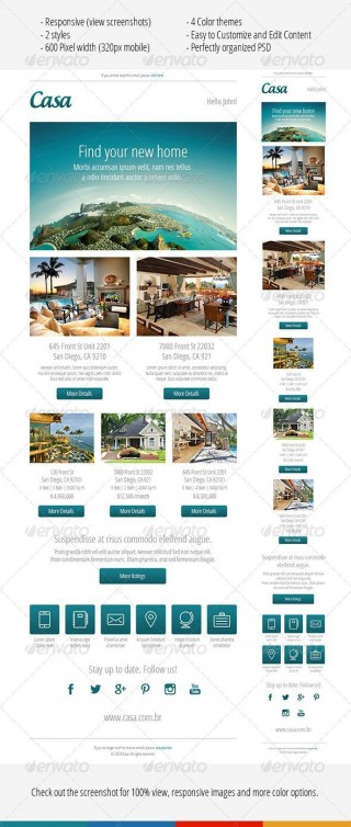 000 Excellent Real Estate Newsletter Template Idea  Free Mailchimp320
