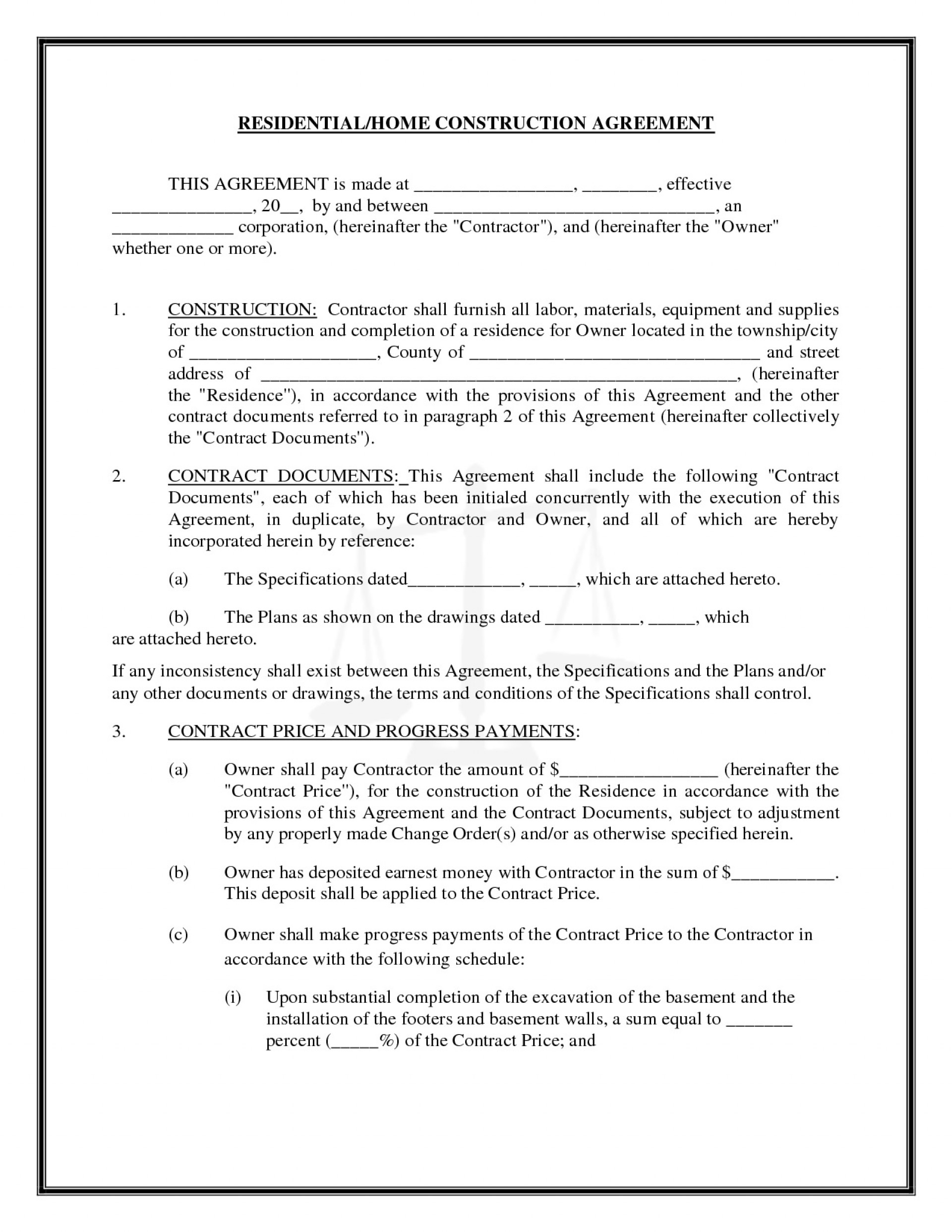 000 Excellent Residential Construction Contract Template High Def  House Agreement Pdf1920