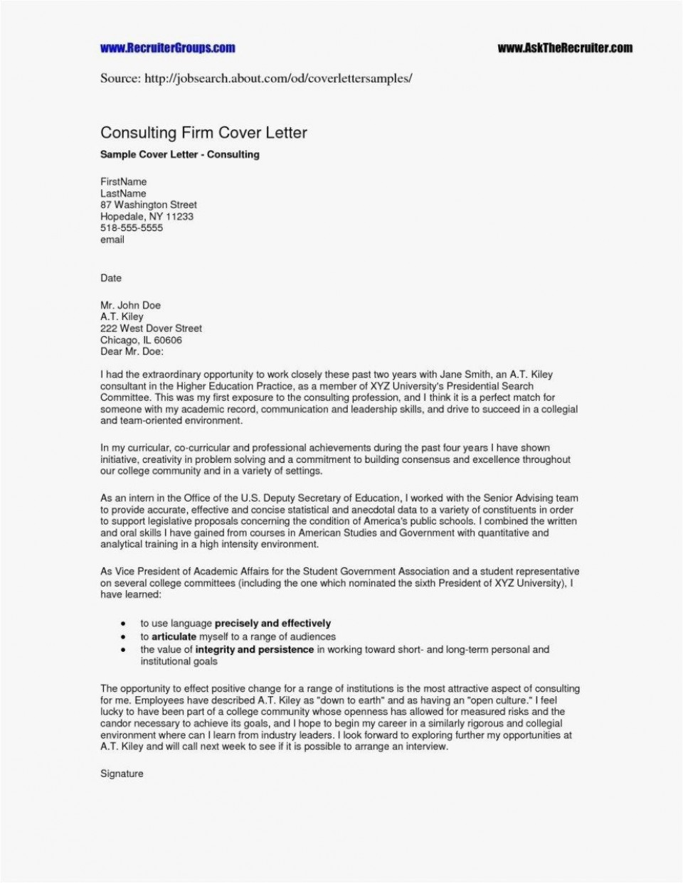 000 Excellent Resume Cover Letter Template Free High Resolution  Simple Online Microsoft960