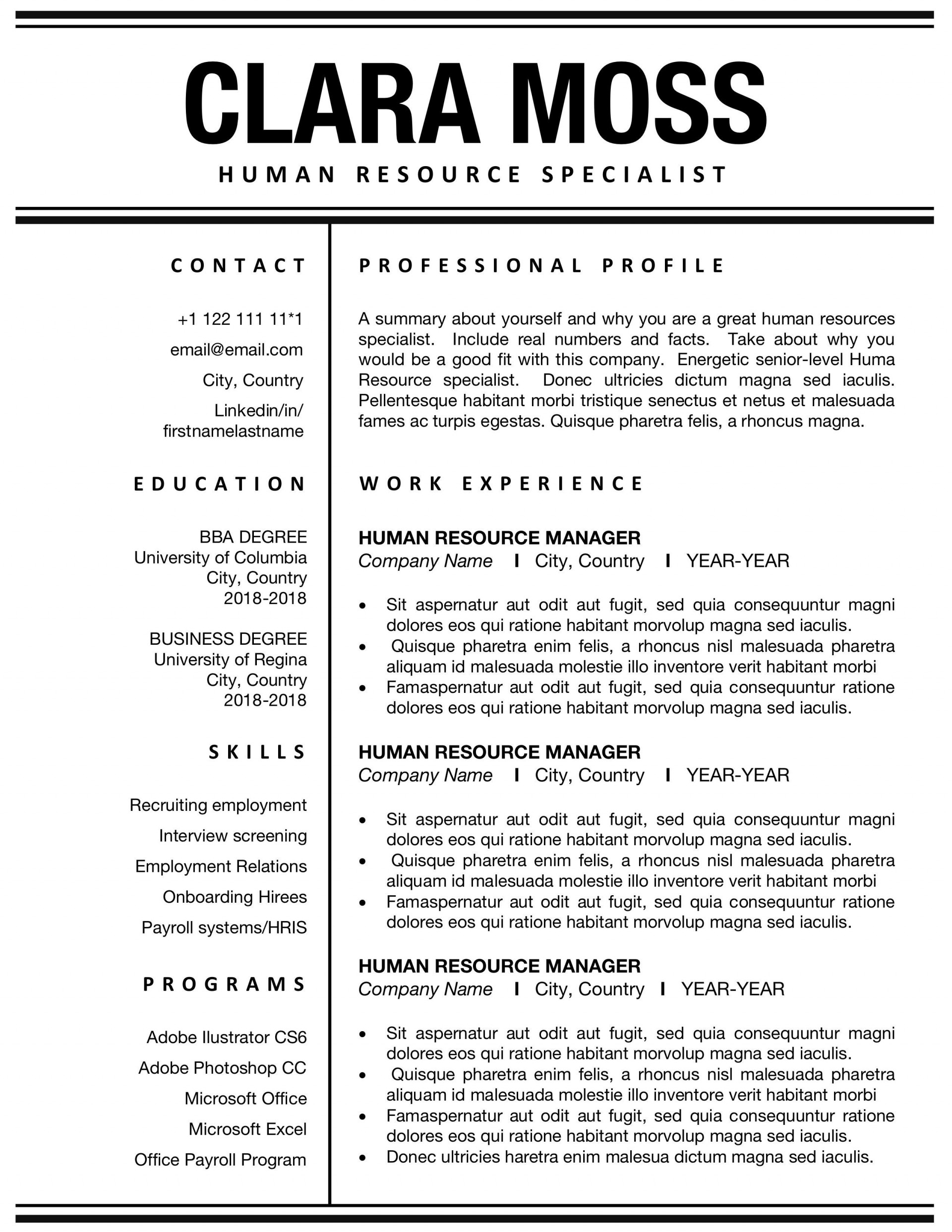 000 Exceptional Busines Resume Template Word Example  Analyst Columbia School1920