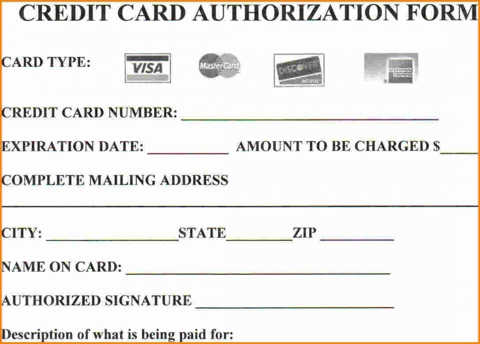 Credit Card Authorization Form Template Addictionary