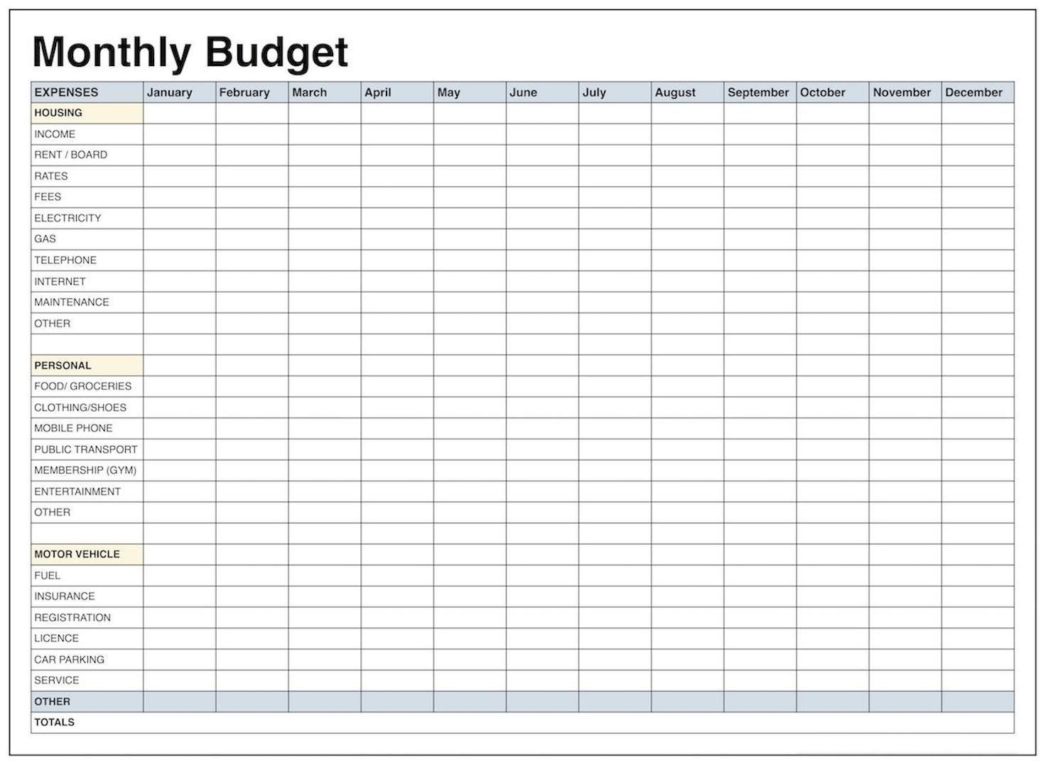 000 Exceptional Excel Monthly Bill Template Concept  Expense Budget With Due Date Planner UkFull