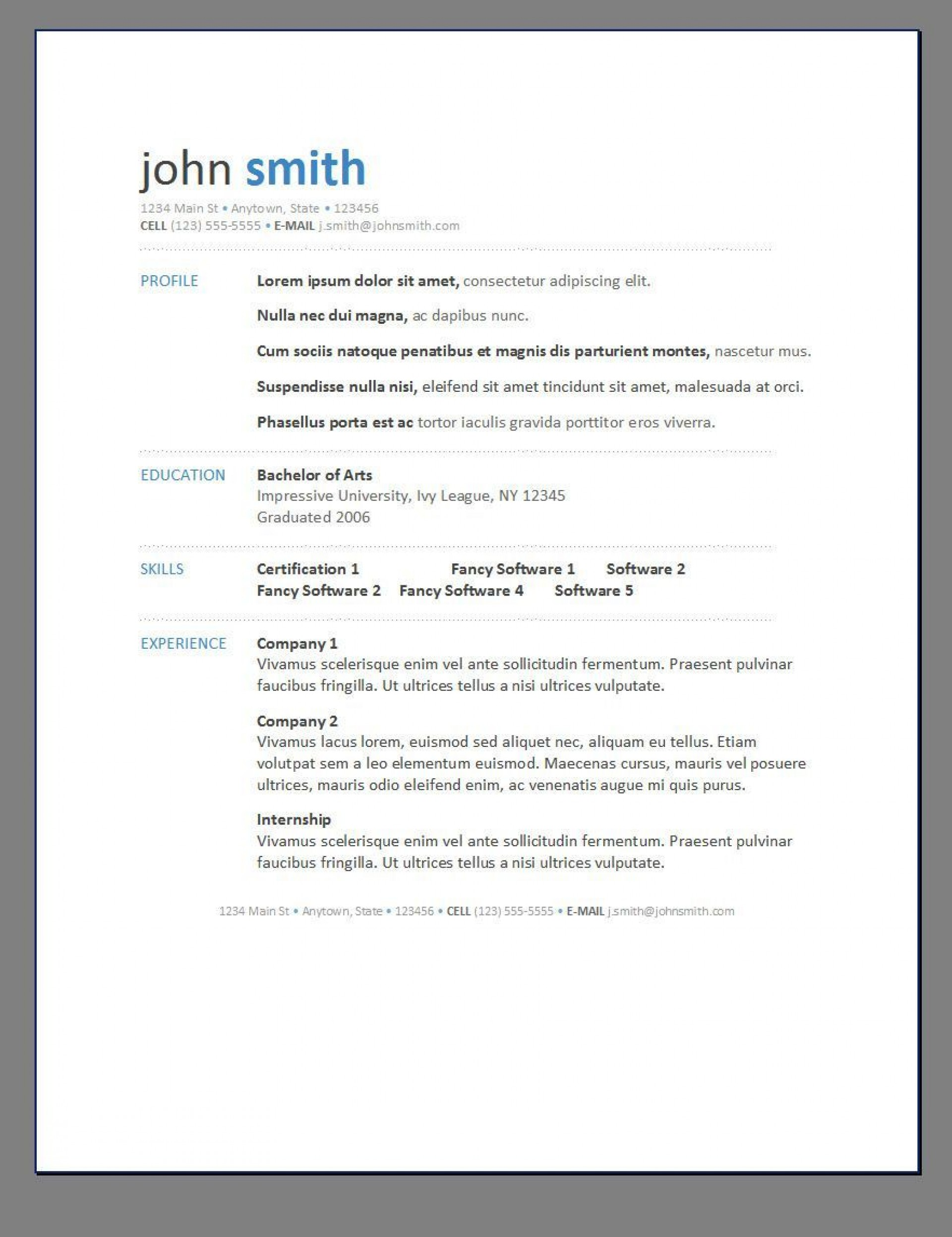 000 Exceptional Free Printable Resume Template Word Photo  Microsoft1920