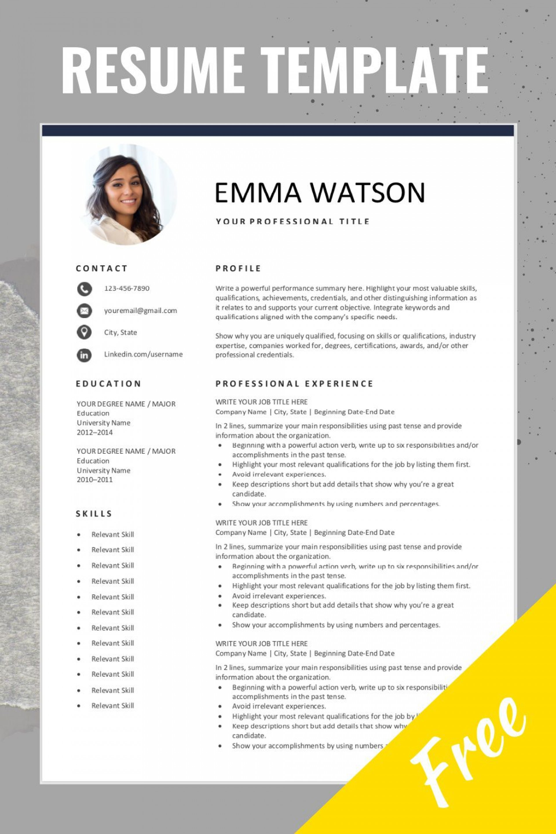000 Exceptional Free Resume Template Microsoft Word Picture  2007 Eye Catching Download 20101920