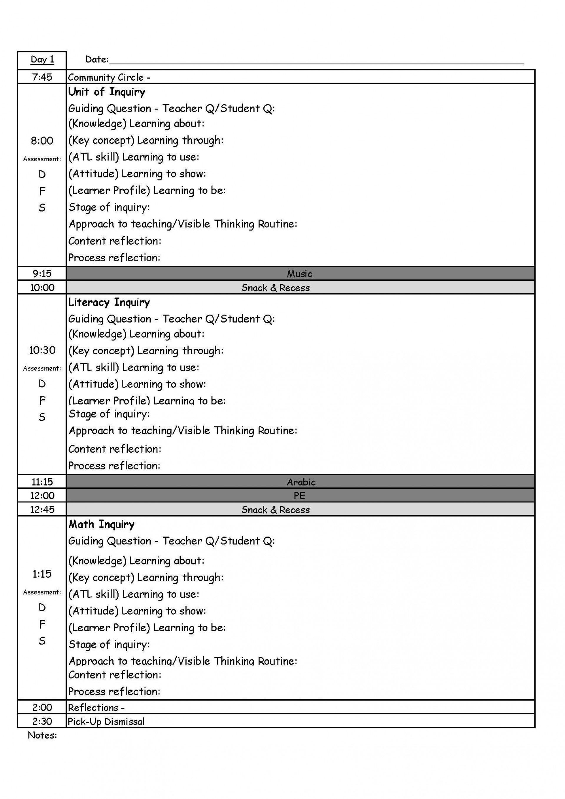 000 Exceptional One Day Lesson Plan Template Photo  Example Format1920