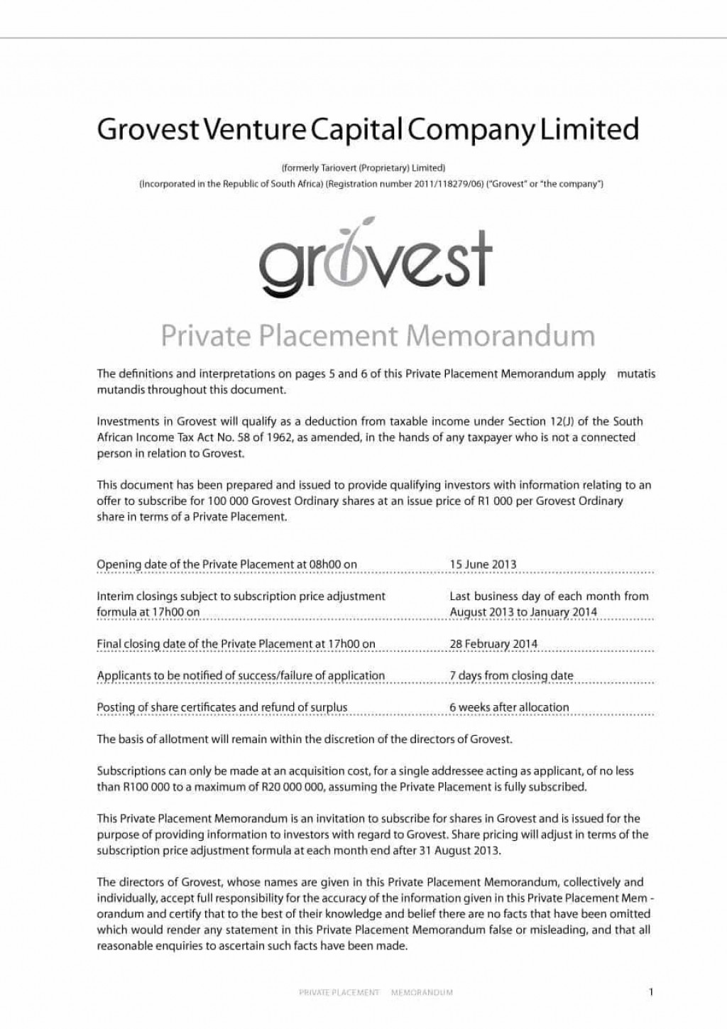 000 Exceptional Private Placement Memorandum Template Free Download Sample Large