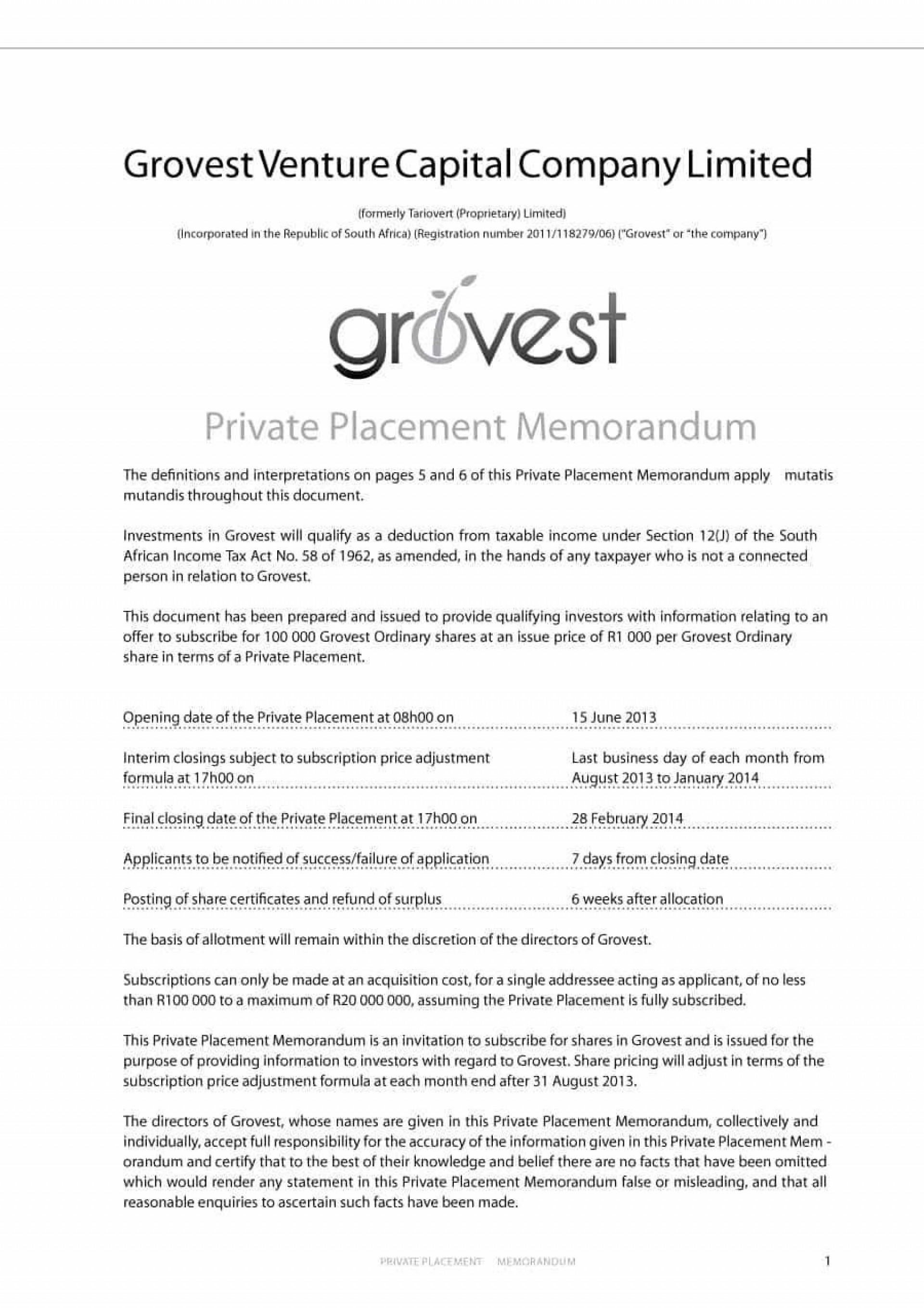 000 Exceptional Private Placement Memorandum Template Free Download Sample 1920