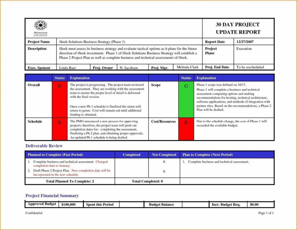 000 Exceptional Project Management Weekly Report Template Excel High Definition  Statu ProgresLarge