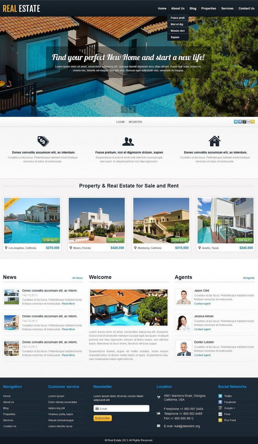 000 Exceptional Real Estate Template Wordpres High Resolution  Homepres - Theme Free Download Realtyspace868
