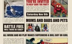 000 Exceptional Superhero Newspaper Invitation Template Free High Definition