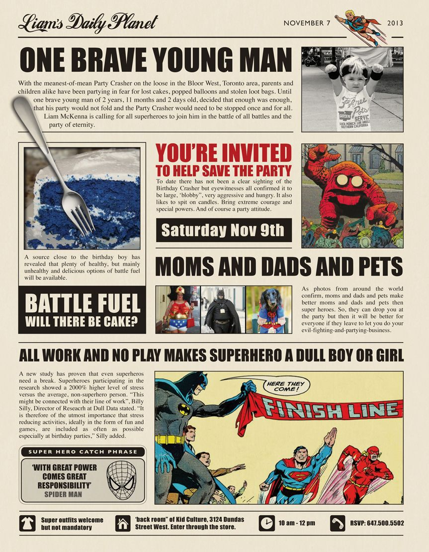 000 Exceptional Superhero Newspaper Invitation Template Free High Definition Full