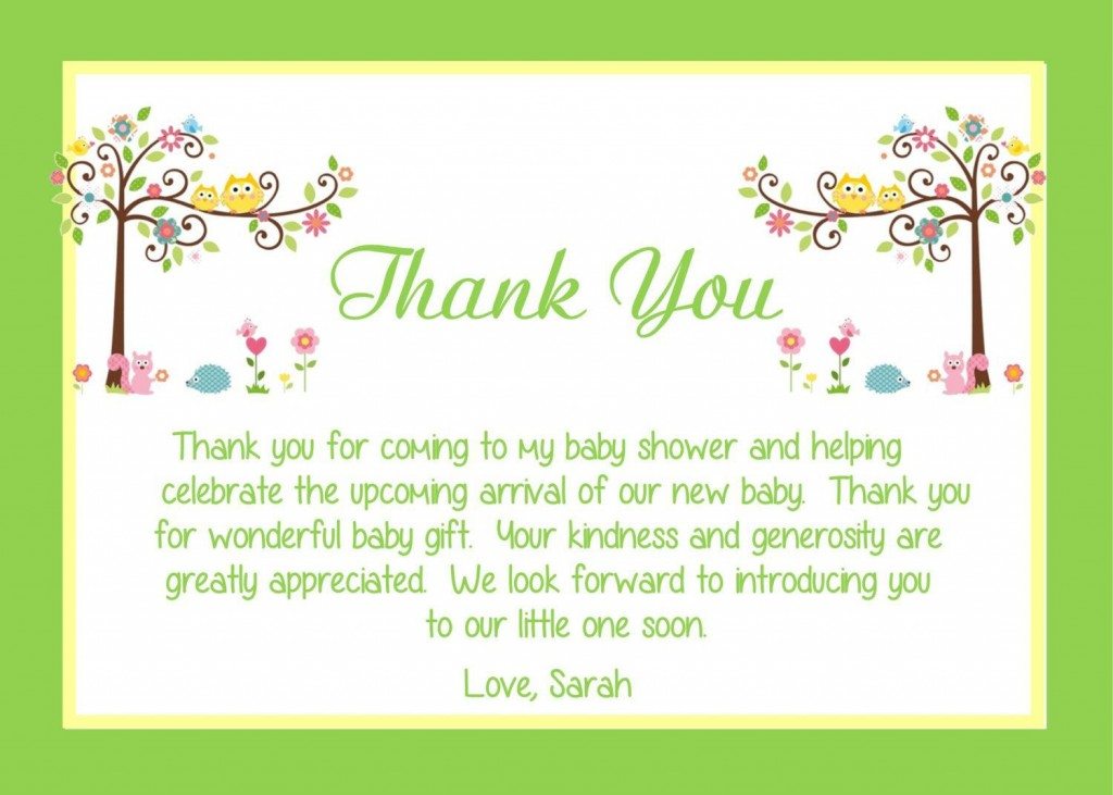 000 Exceptional Thank You Note Wording Baby Shower Picture  For Hosting CardLarge