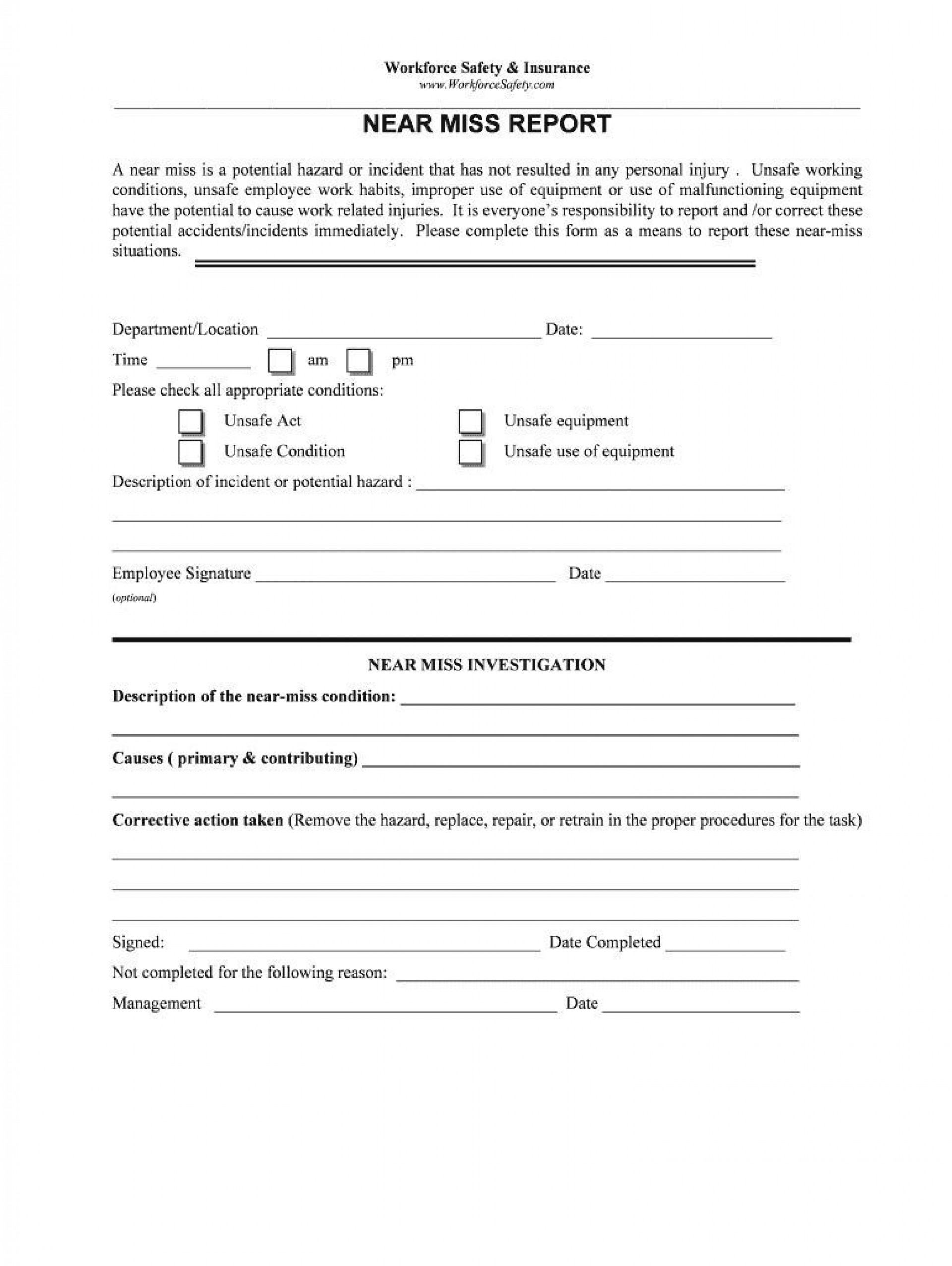 000 Exceptional Workplace Incident Report Template Ontario Inspiration  Form1920