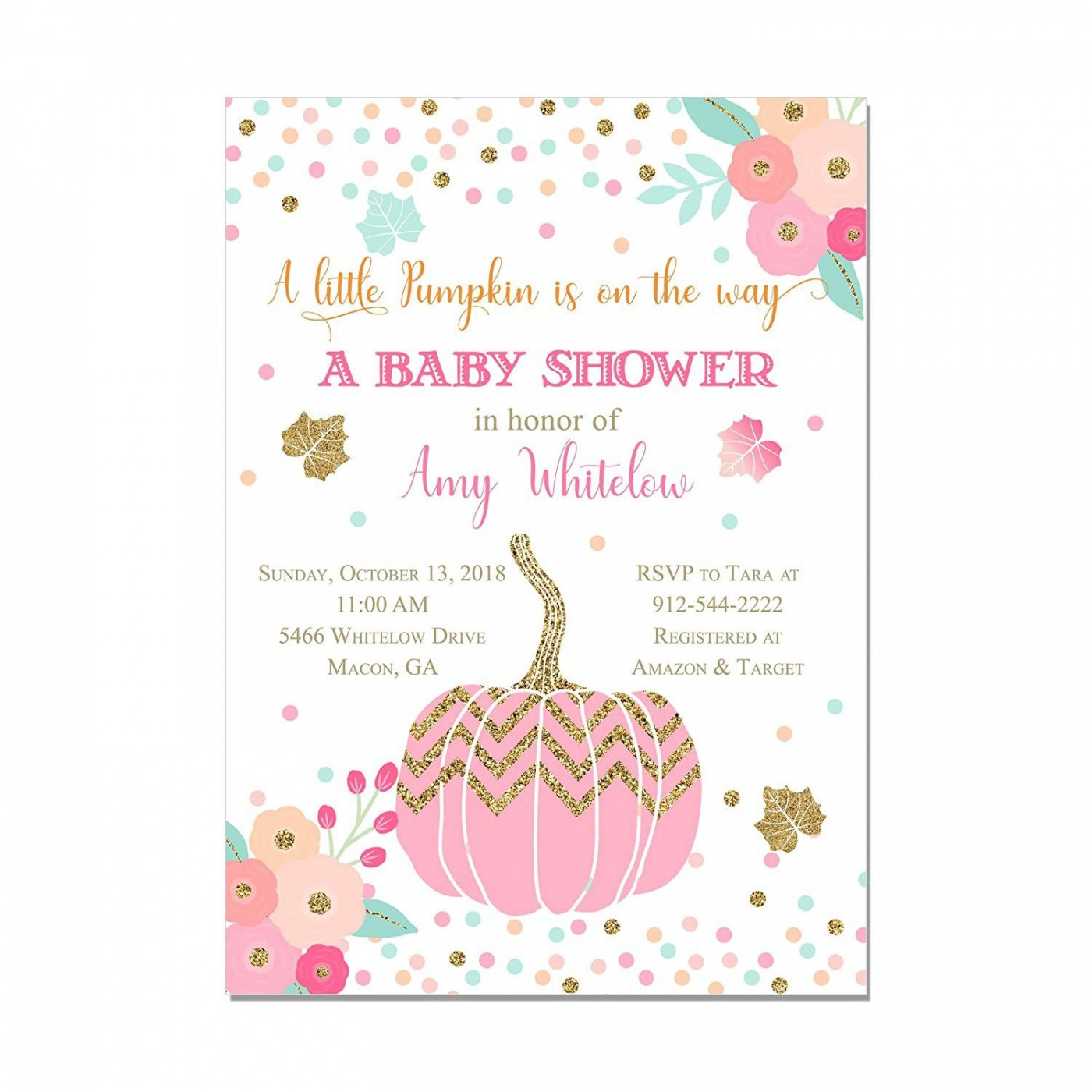 000 Fantastic Baby Shower Invitation Girl Pumpkin Picture  Pink Little1400