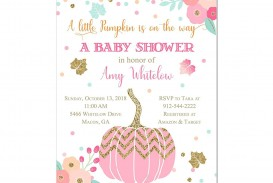 000 Fantastic Baby Shower Invitation Girl Pumpkin Picture  Pink Little