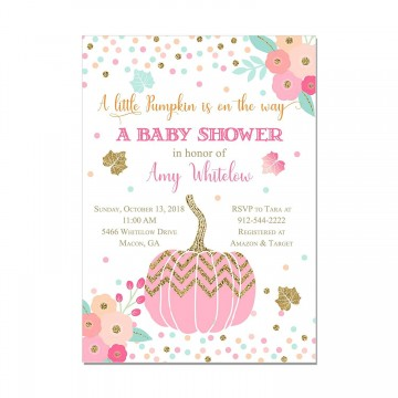 000 Fantastic Baby Shower Invitation Girl Pumpkin Picture  Pink Little360