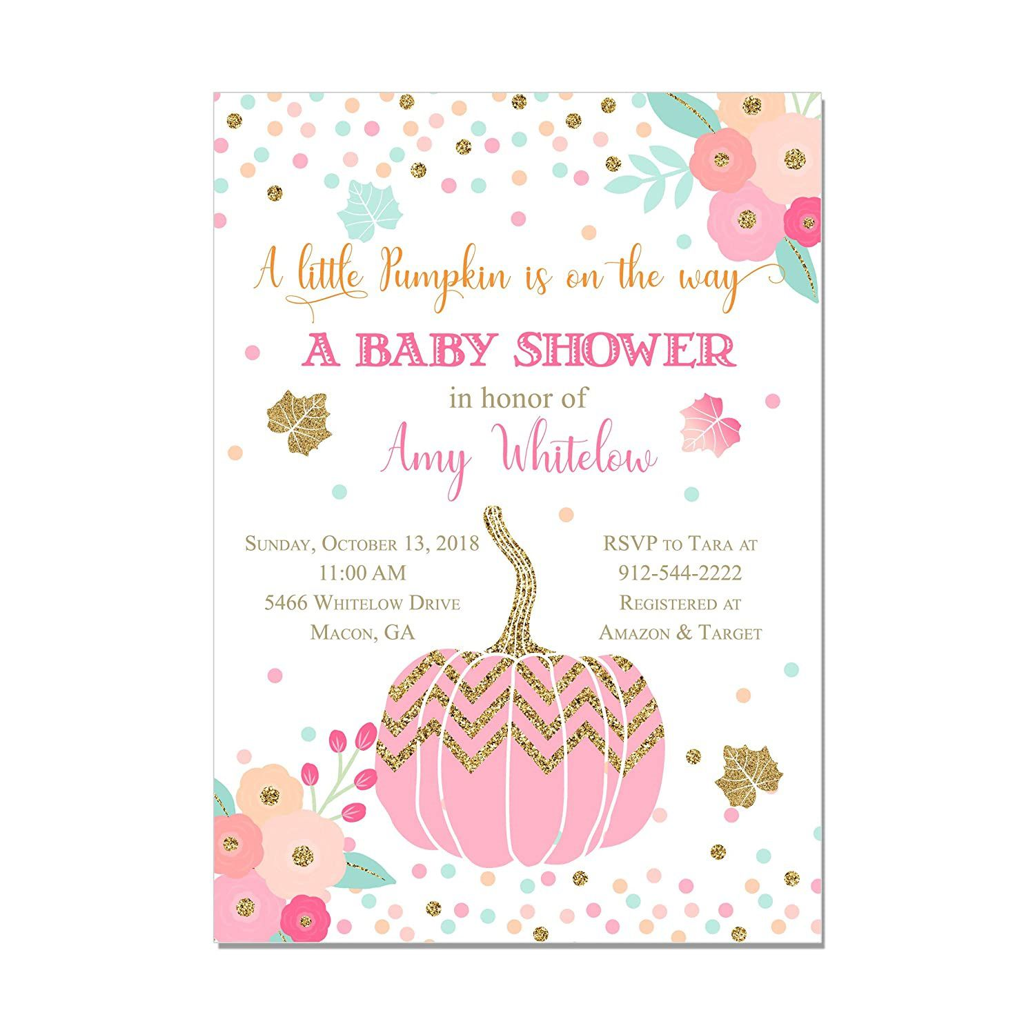 000 Fantastic Baby Shower Invitation Girl Pumpkin Picture  Pink LittleFull