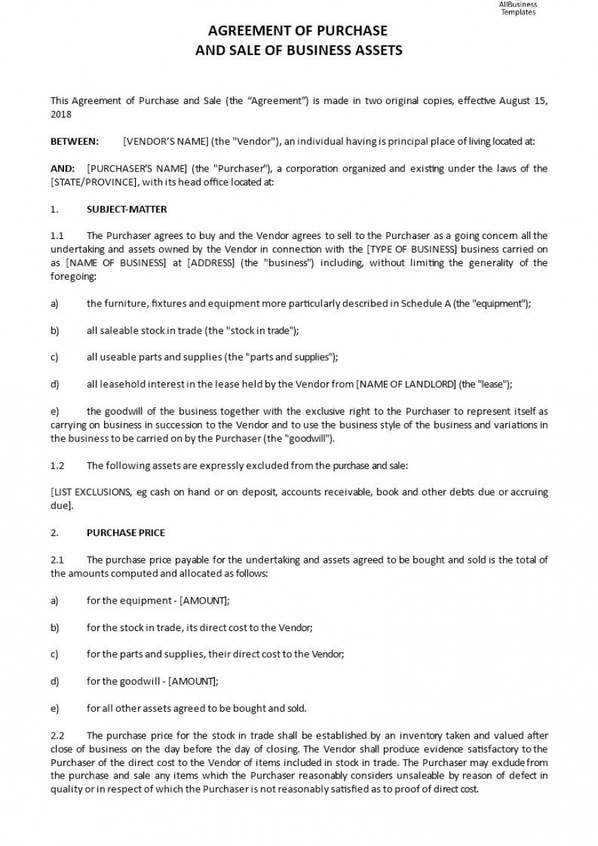 Business Sale Agreement Template Addictionary