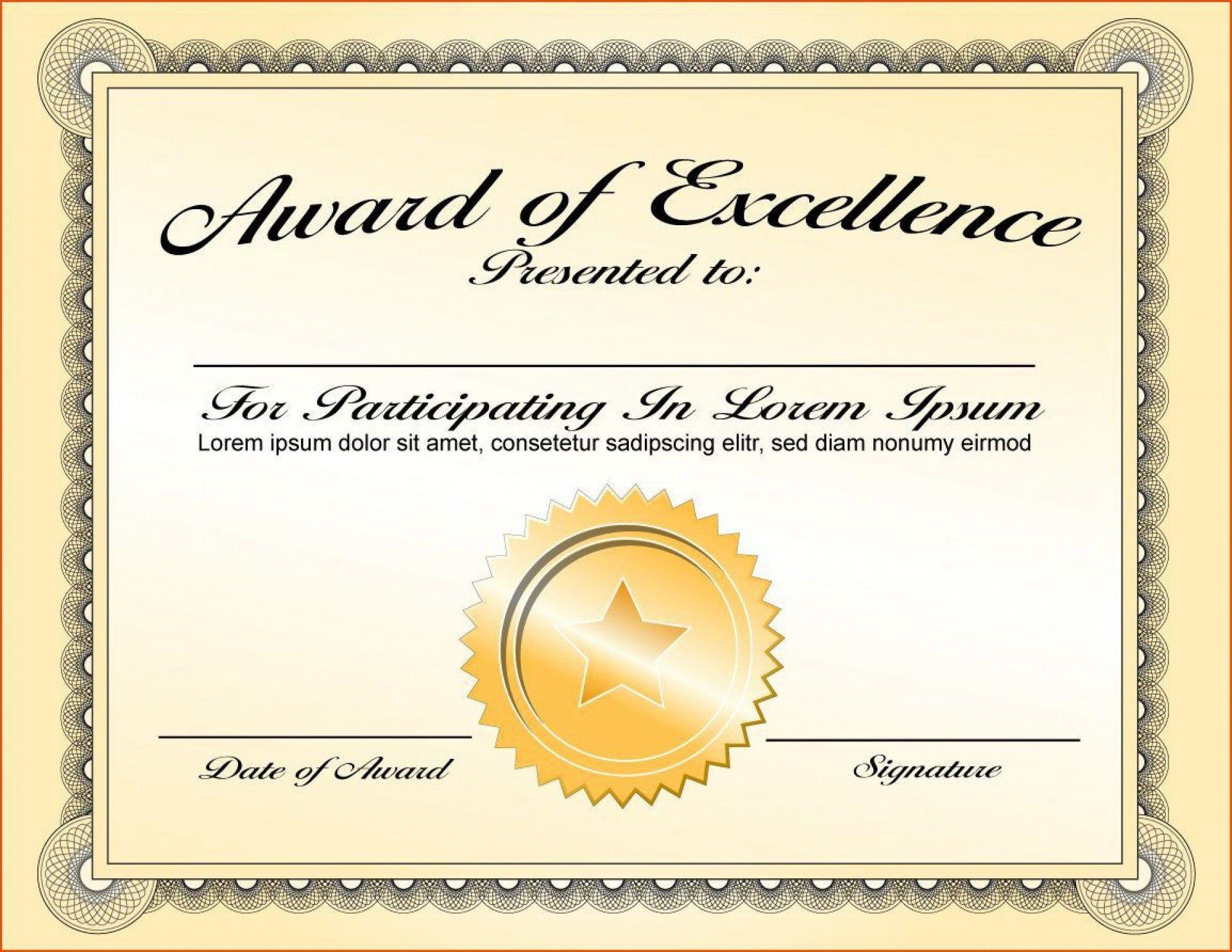 000 Fantastic Certificate Of Award Template Word Free Sample 1920