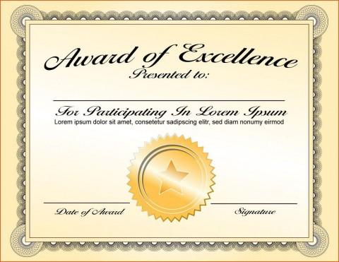 000 Fantastic Certificate Of Award Template Word Free Sample 480