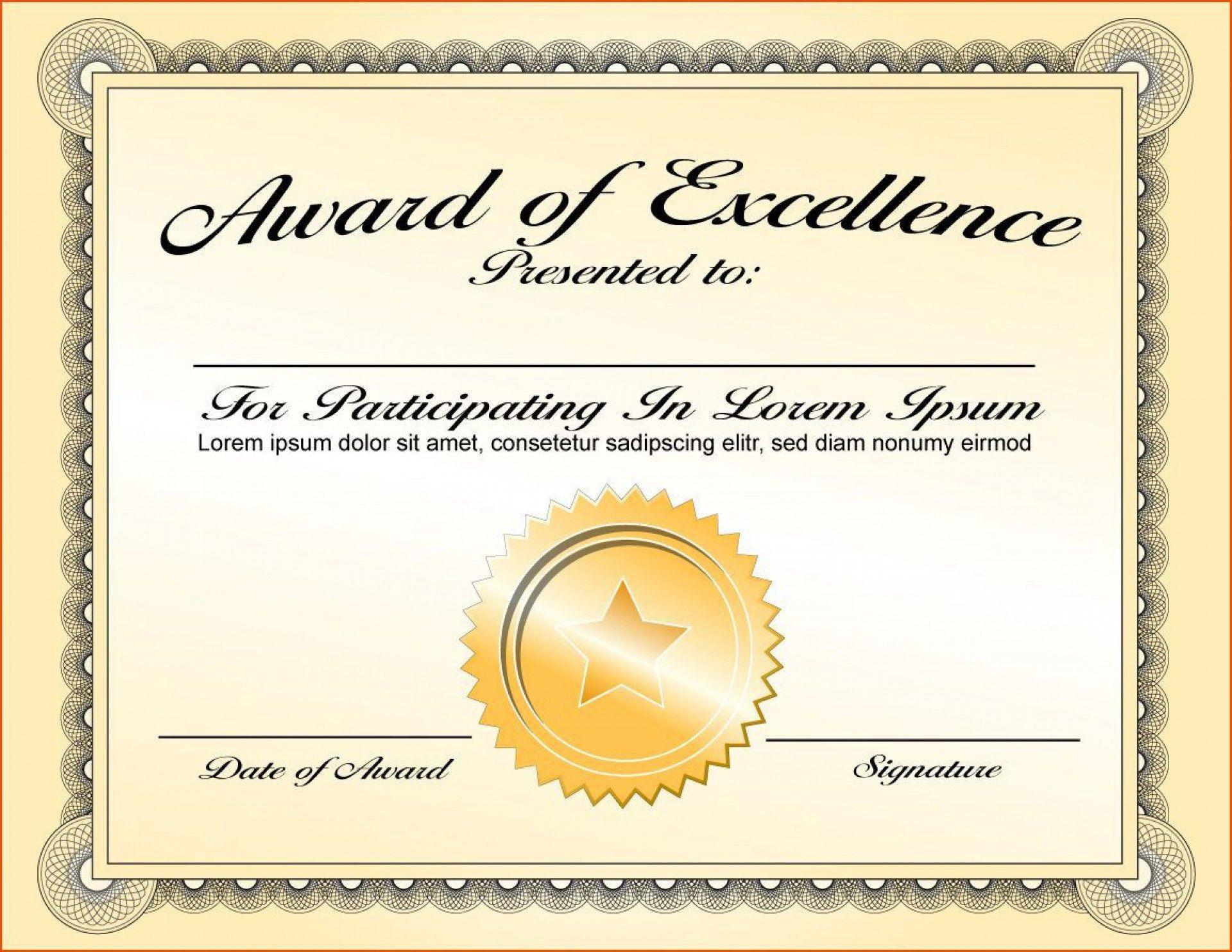 000 Fantastic Certificate Of Award Template Word Free Sample Full