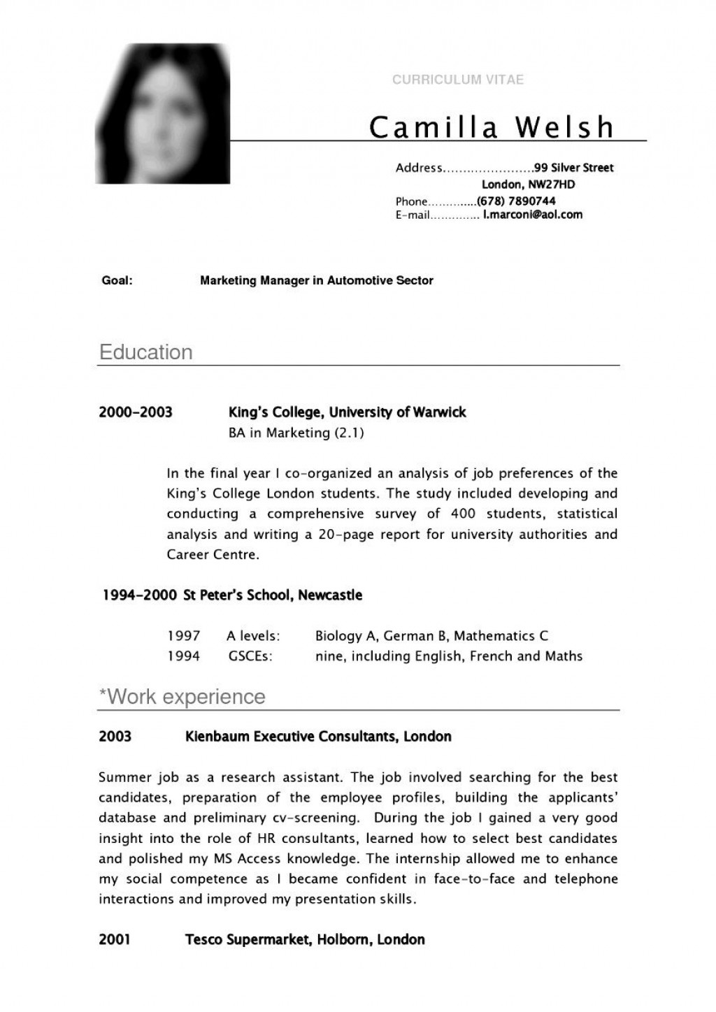 000 Fantastic Curriculum Vitae Template Student Inspiration  Sample College Undergraduate Example For Research PaperLarge