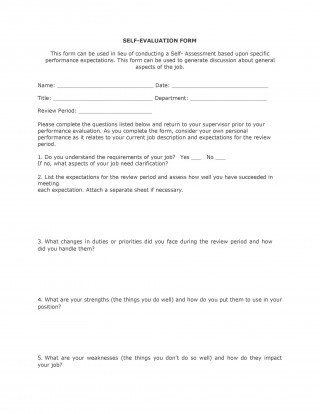 000 Fantastic Employee Self Evaluation Form Template Sample  Free Word320