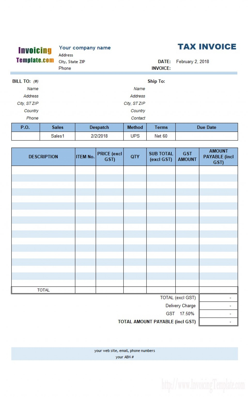 000 Fantastic Free Excell Invoice Template Picture  Excel Gst India Canada Tax AustraliaLarge