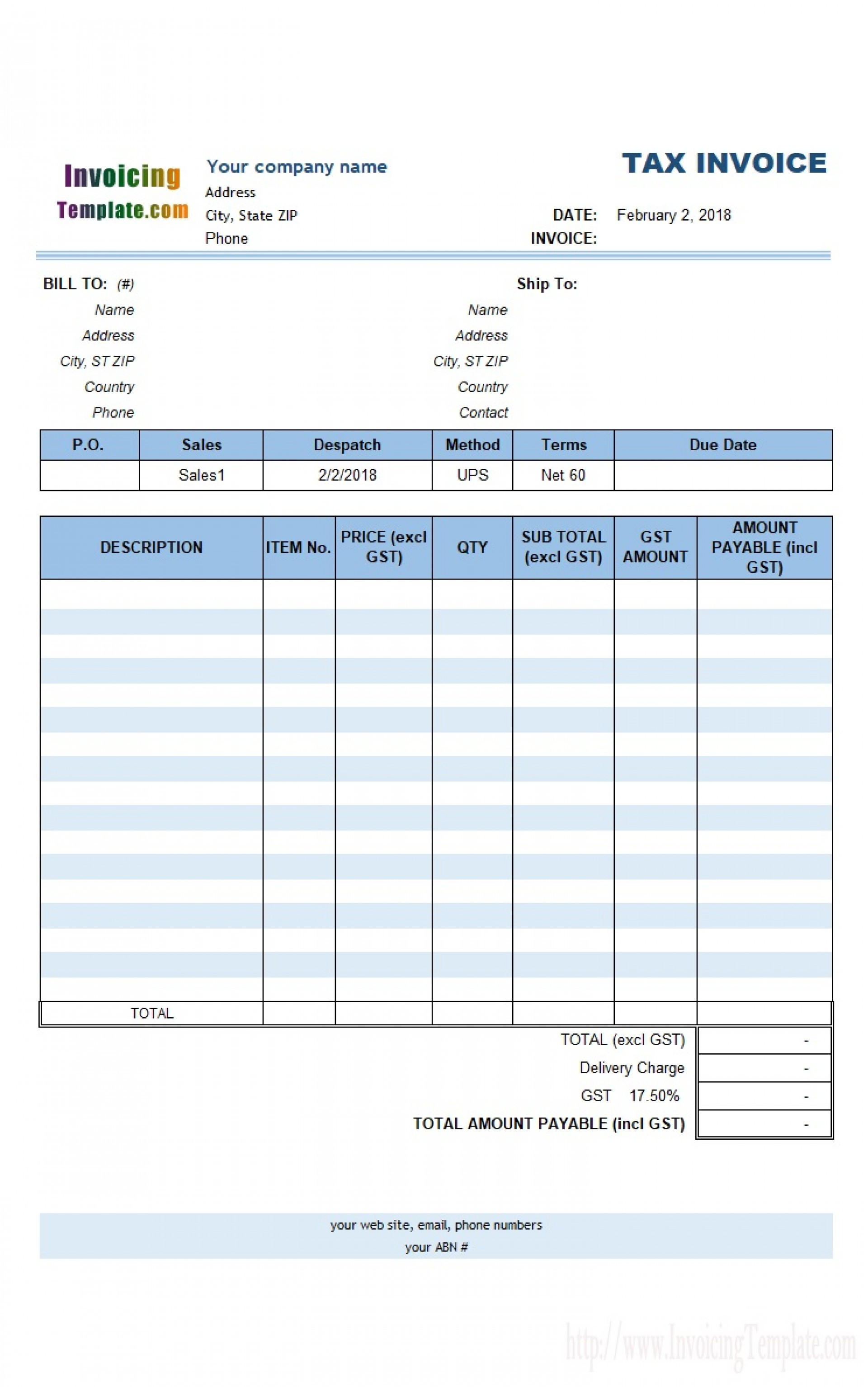 000 Fantastic Free Excell Invoice Template Picture  Excel Gst India Canada Tax Australia1920